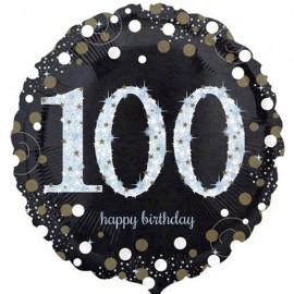 45cm 100th Sparkling Happy Birthday Holographic