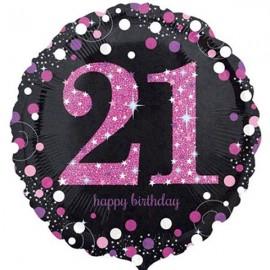 45cm 21st Birthday Pink Celebration Holographic