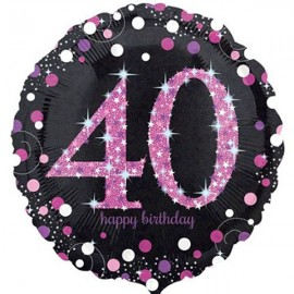 45cm 40th Birthday Pink Celebration Holographic
