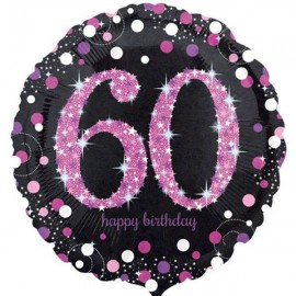 45cm 60th Birthday Pink Celebration Holographic
