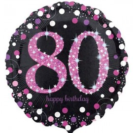 45cm 80th Birthday Pink Celebration Holographic