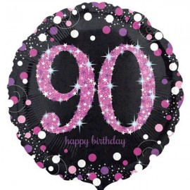 45cm 90th Birthday Pink Celebration Holographic