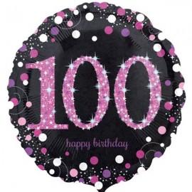 45cm 100th Birthday Pink Celebration Holographic