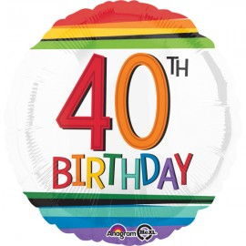 45cm 40th Birthday Rainbow Stripes