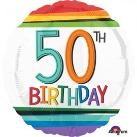 45cm 50th Birthday Rainbow Stripes