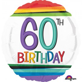 45cm 60th Birthday Rainbow Stripes