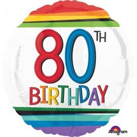 45cm 80th Birthday Rainbow Stripes