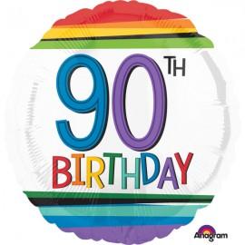 45cm 90th Birthday Rainbow Stripes