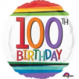 45cm 100th Birthday Rainbow Stripes