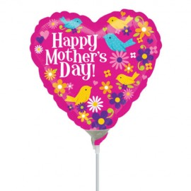 10cm Happy Mother's Day Birds & Flowers (Flat)