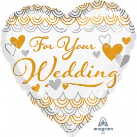 45cm For Your Wedding Heart Gold & Silver