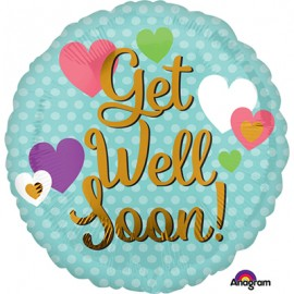 10cm Get Well Soon! Gold & Hearts (Flat)