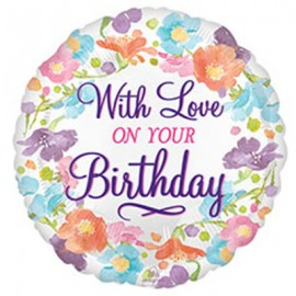 10cm With Love On Your Birthday - Floral (Inflated)